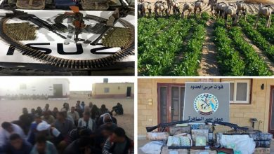 القوات المسلحة تدمر 10 فتحات نفق بشمال سيناء وتضبط 318 بندقية