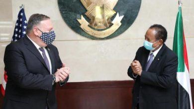 عبد الله حمدوك خلال استقباله وزير الخارجية الأميركي مايك بومبيو في الخرطوم