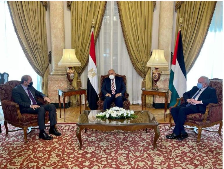 وزراء خارجية مصر وفلسطين والأردن